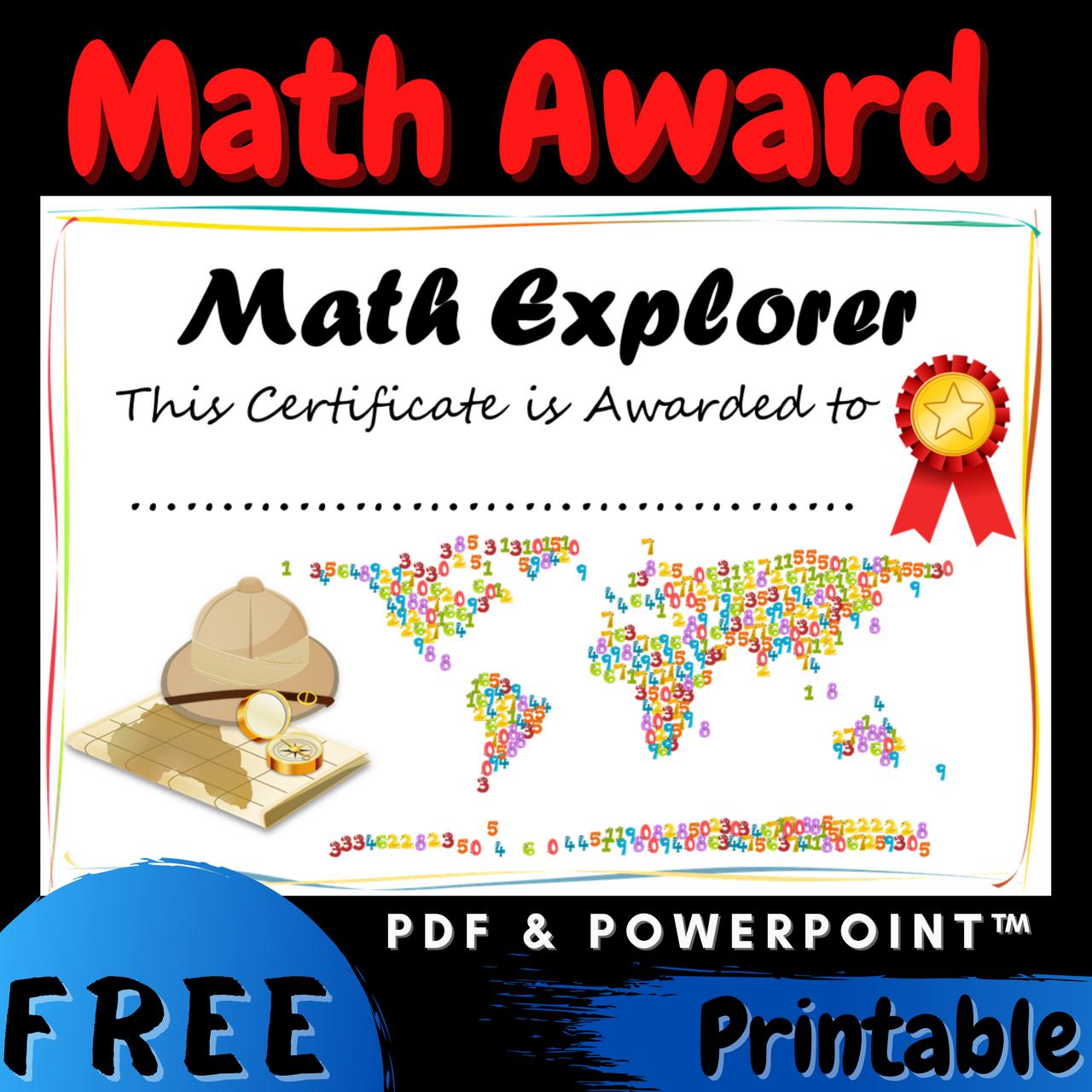 FREE Math Explorer End of the Year Award Certificate Diploma Printable Editable