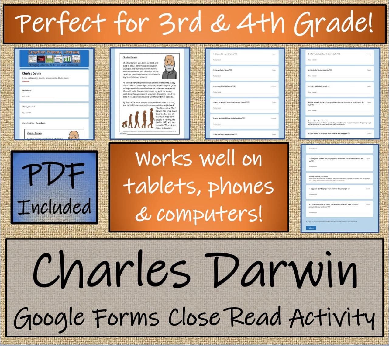 Charles Darwin Close Reading Activity Digital & Print   3rd Grade & 4th Grade