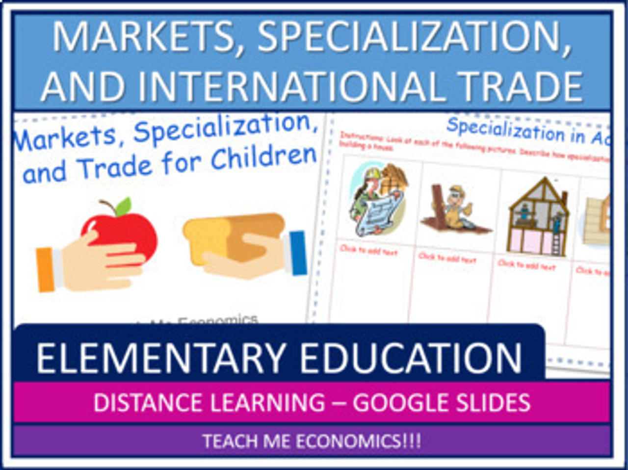 Markets, Specialization, and Trade for Elementary Economics Worksheets PDF