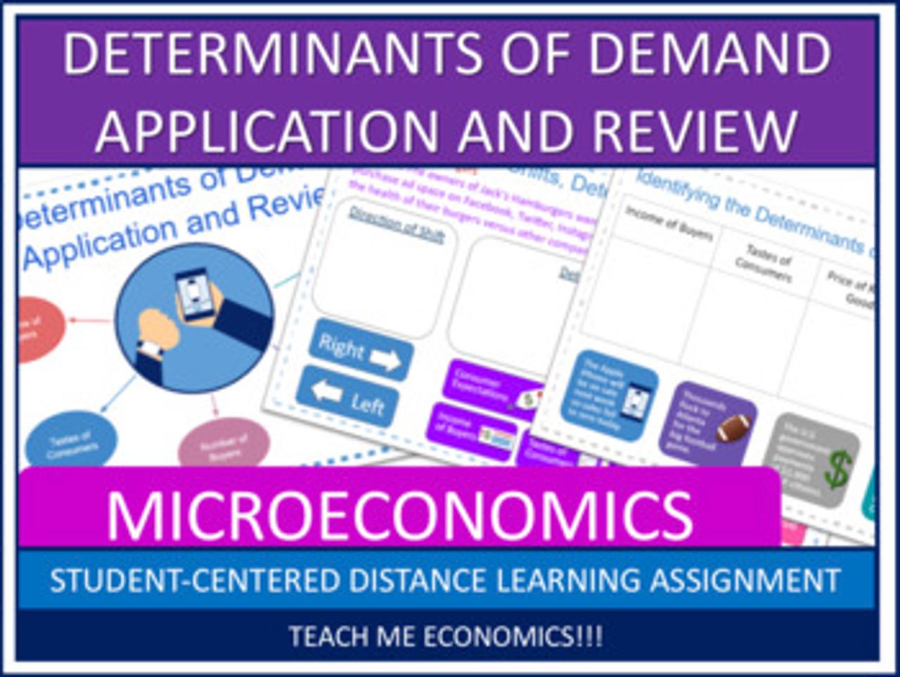 Determinants of Demand Review, Economics Microeconomics, Printable or Google