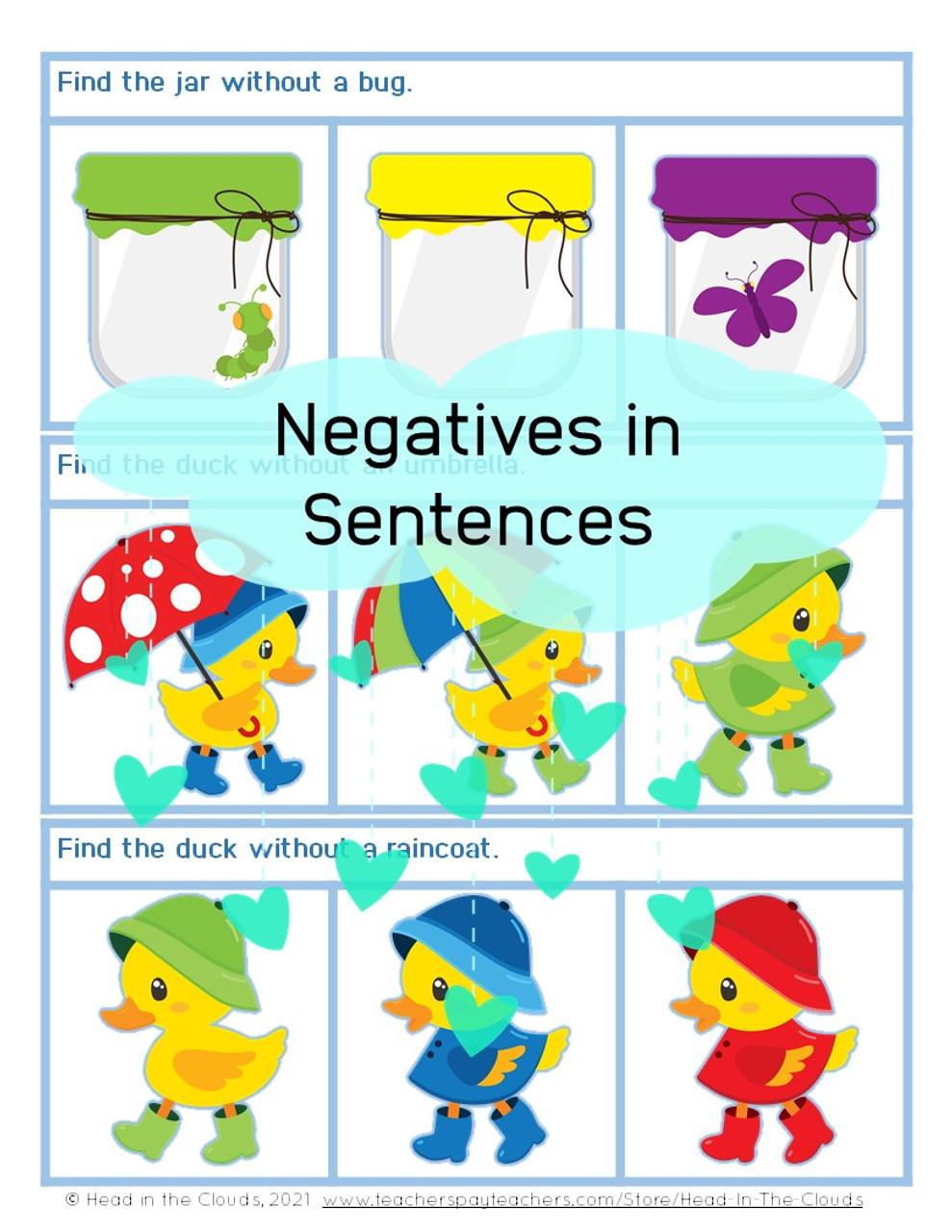 Negatives in Sentences - Spring Set