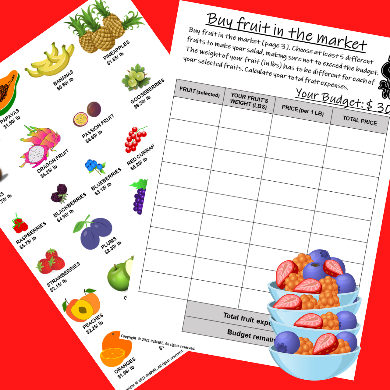 CREATE FRUIT SALAD PBL Math Enrichment Decimals & Money Project Based Learning