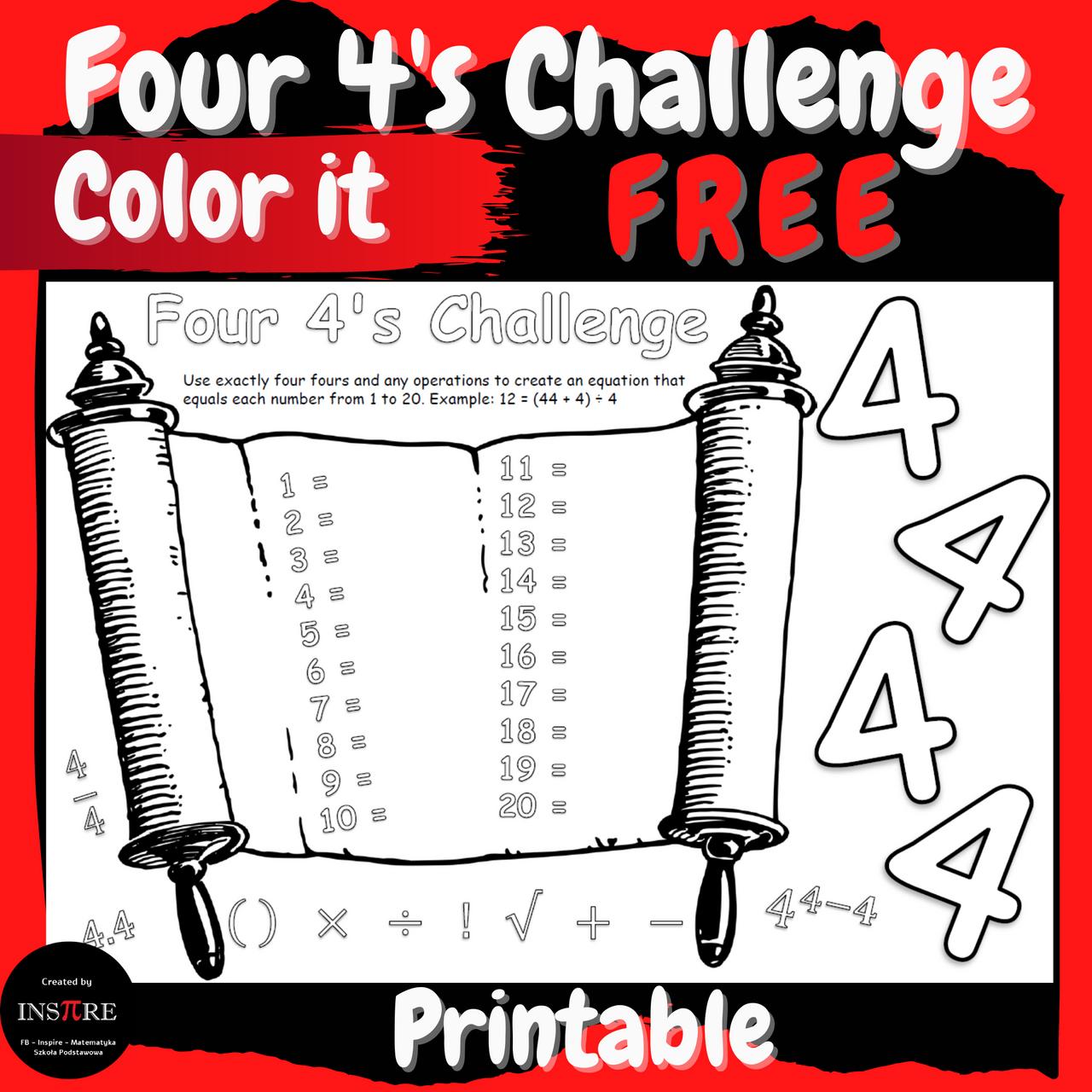 FREE Back to School Activities Four 4's Challenge Math & Art Bulletin Board Idea