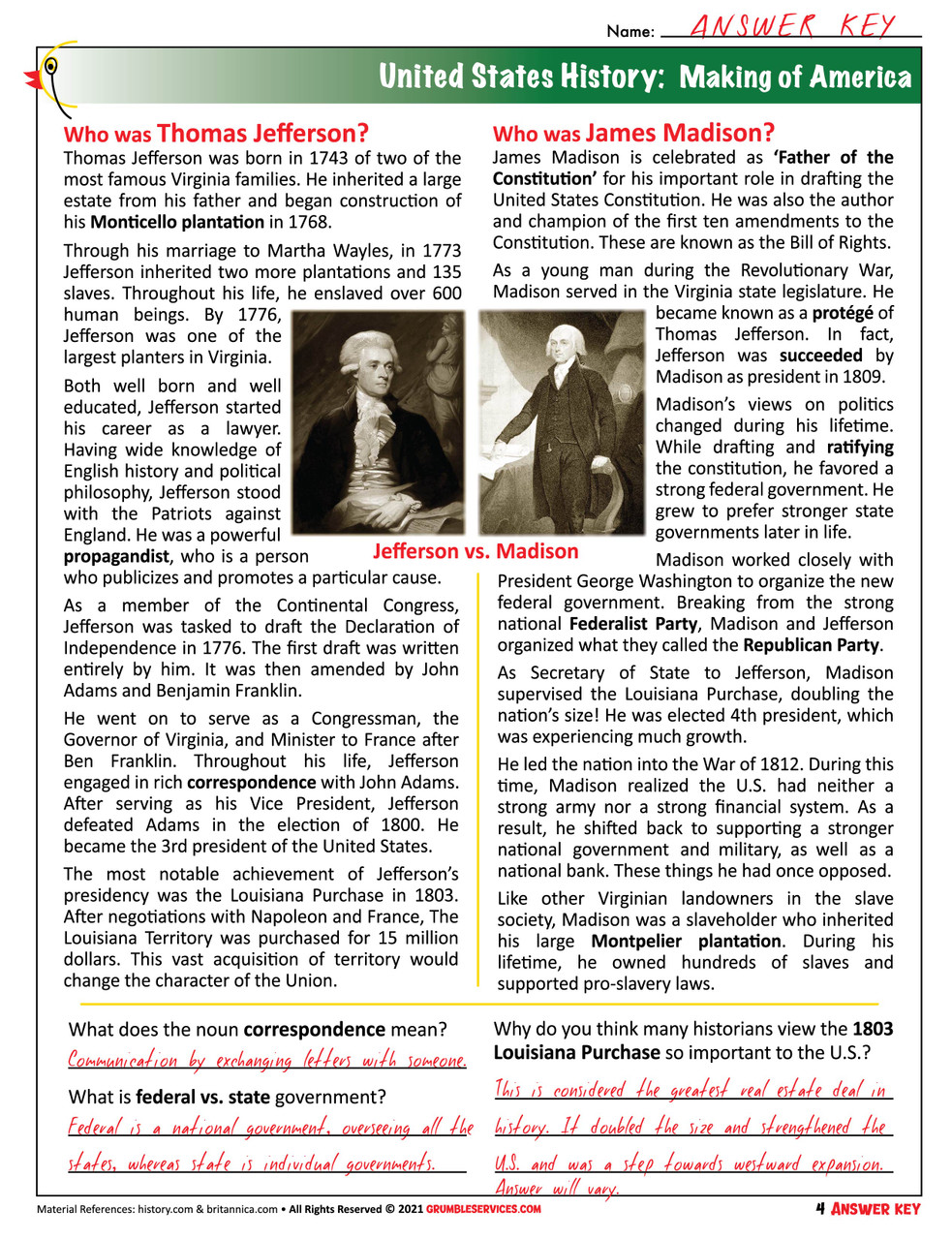 Founding Fathers The United States of America - ROOKIE Elementary Montessori History help (4 pages + key)