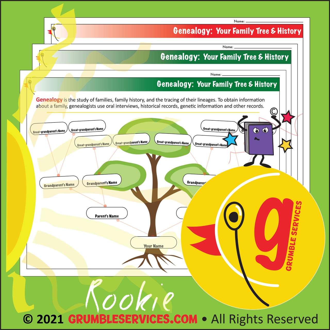 Family Trees & Family Roots: Your Genealogy - ROOKIE Elementary Montessori Science & Social Studies help (BLANK page)