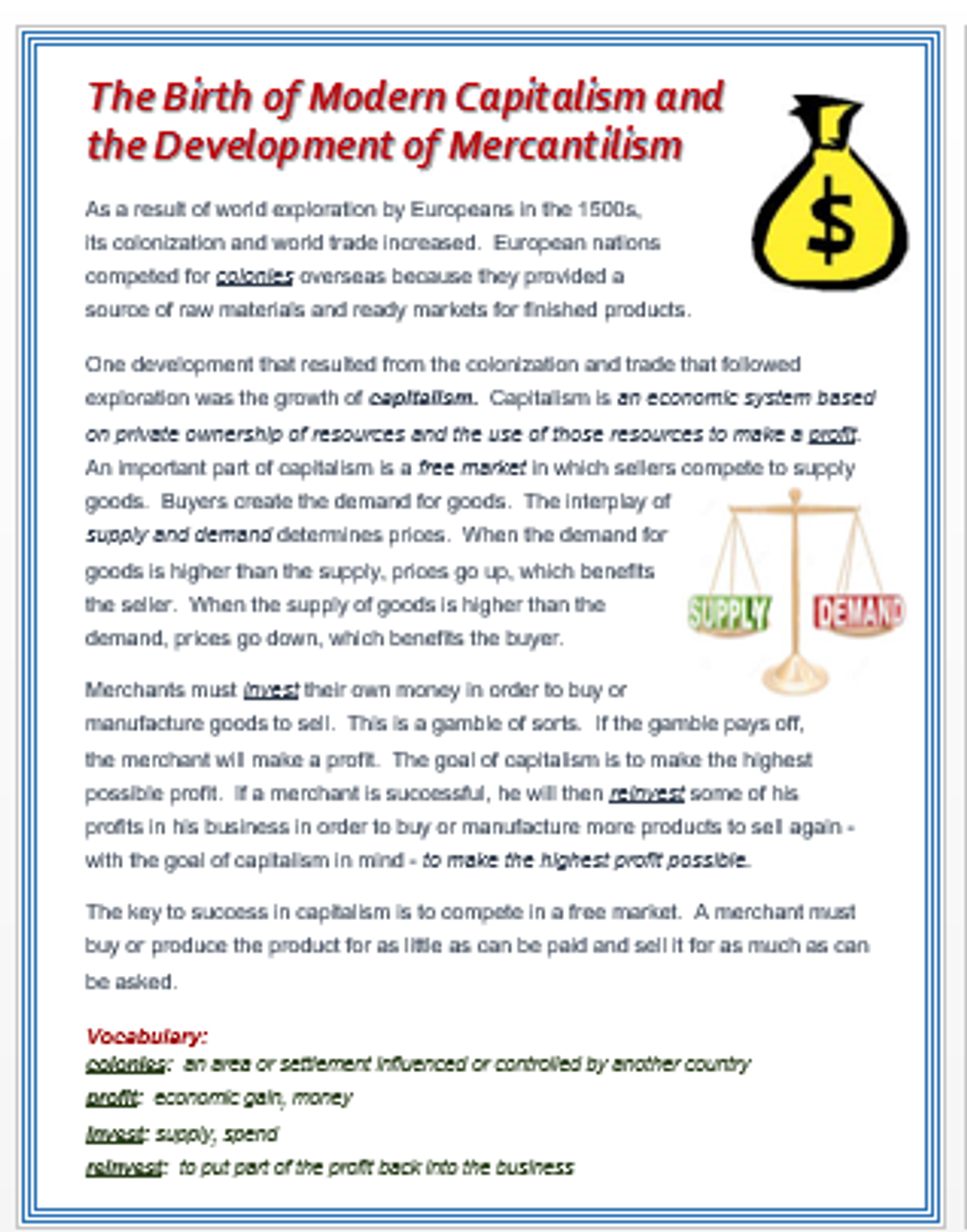 Capitalism and Mercantilism in the Age of Exploration + Assessments