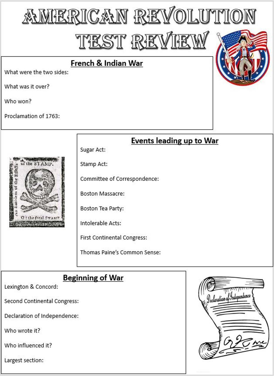 American Revolution Study Guide - Editable w/ Key