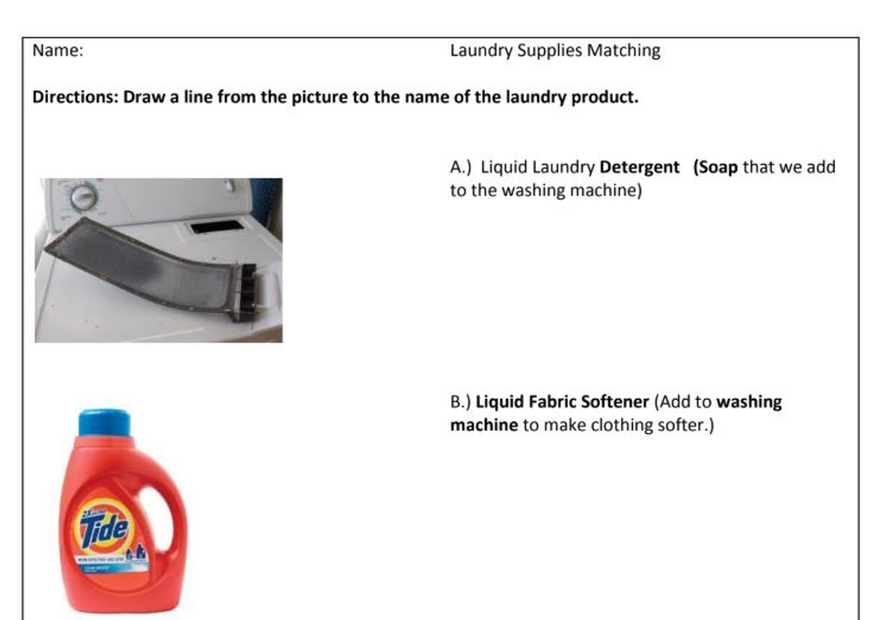 Life Skill Laundry Supplies Matching Worksheet - With Pictures