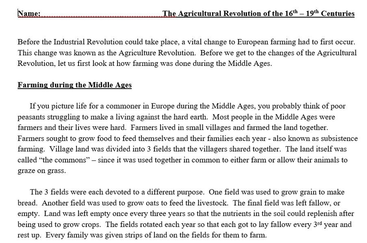 Agricultural Revolution Article and Illustrated Chart