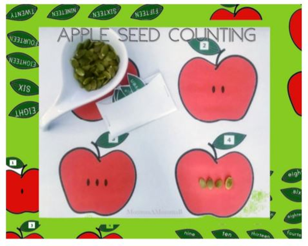 Apple Seeds Counting Cards