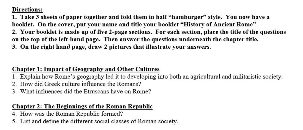 Ancient Rome: Storybook and Poster Activities