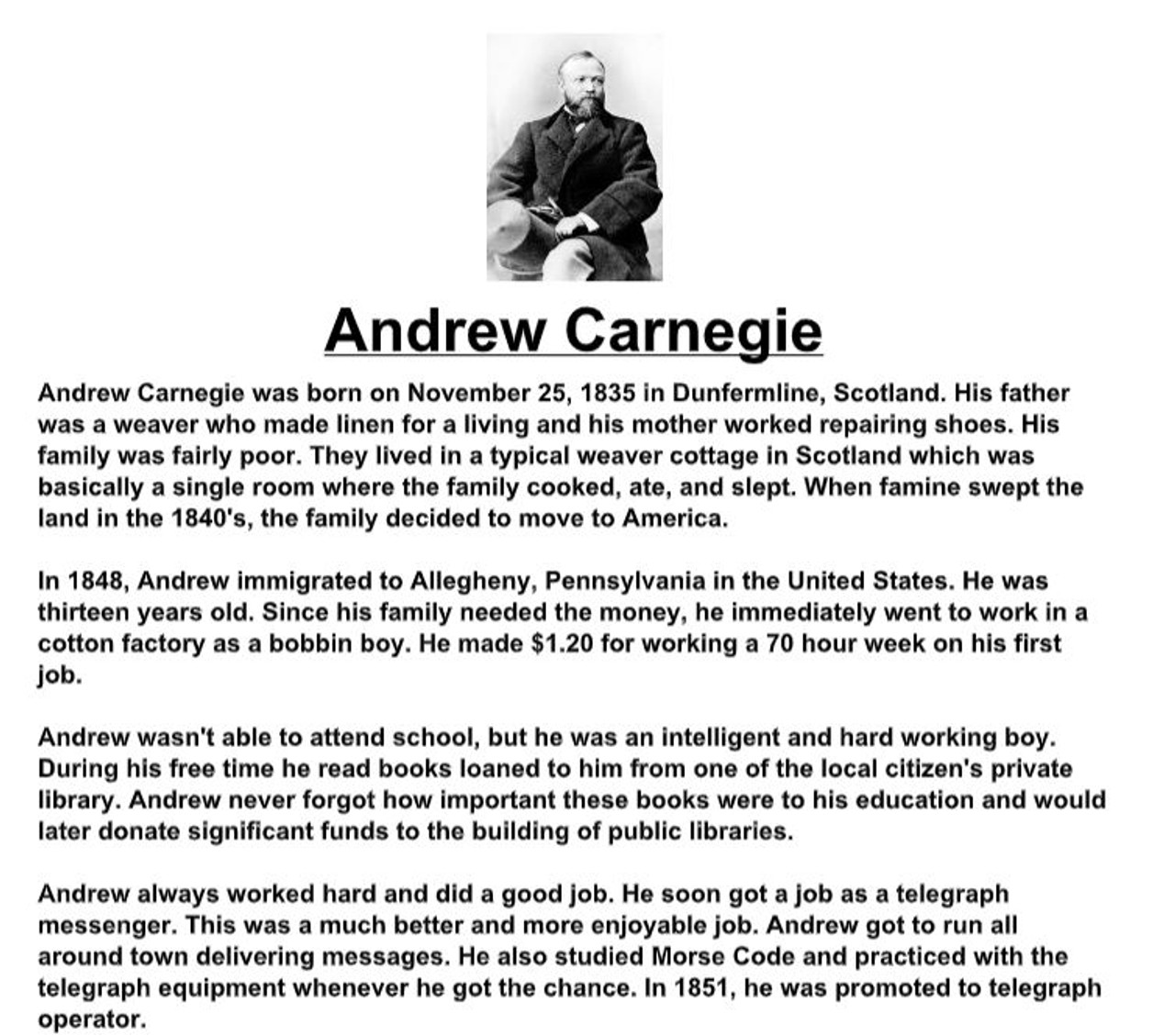 Andrew Carnegie Biography and Assignment