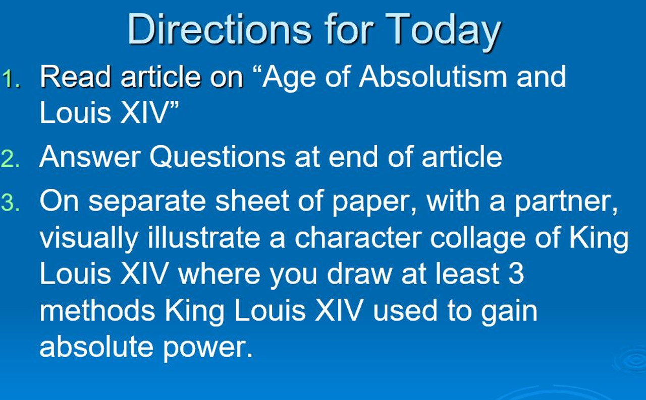 Age of Absolutism and King Louis XIV Lesson