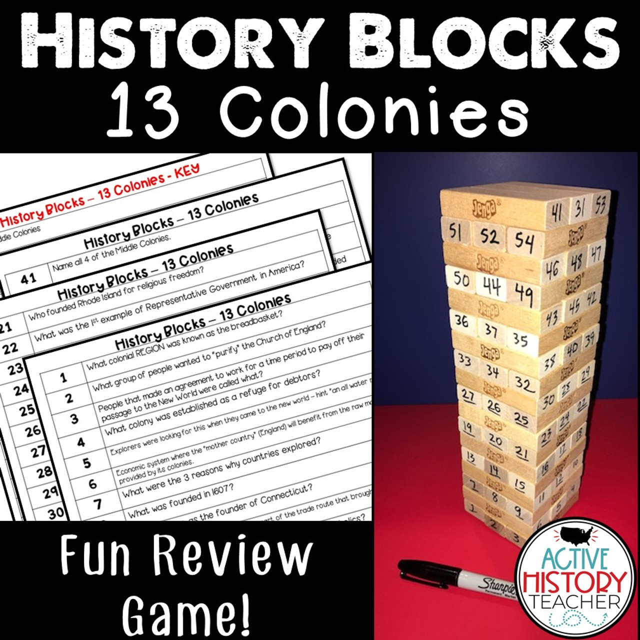 US History Review Game - History Blocks - 13 Colonies - STAAR Review