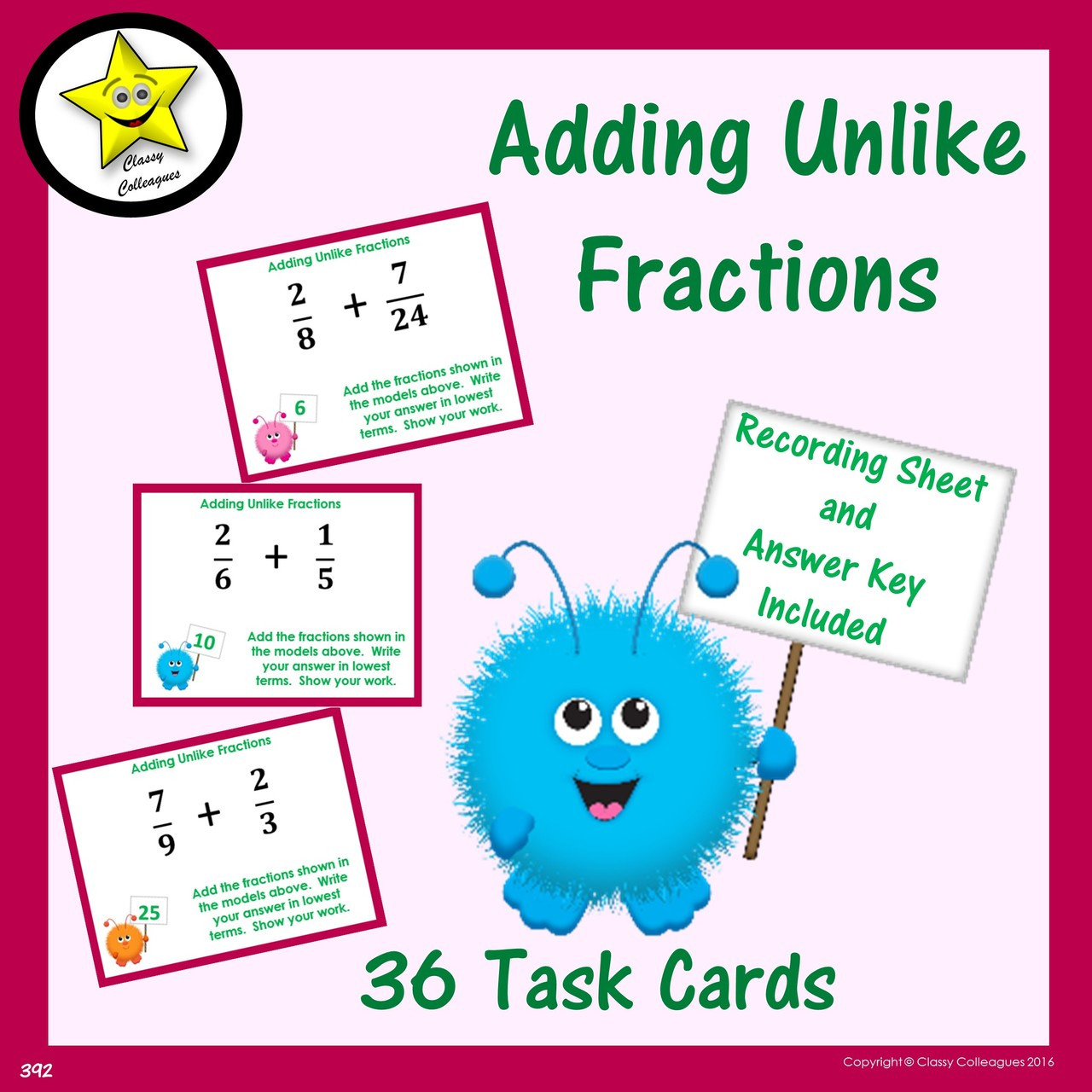 Adding Unlike Fractions (no models) Task Cards