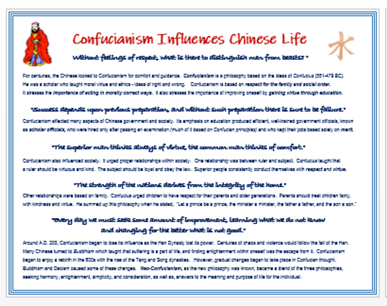 Confucianism Influences Medieval Chinese Life + Assessment