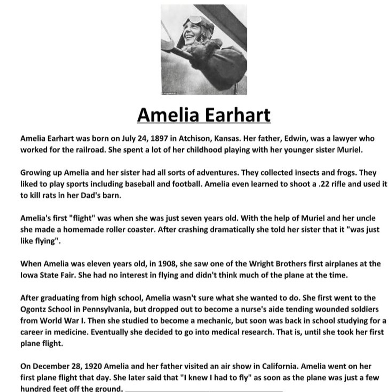 Amelia Earhart Biography and Assignment Worksheet