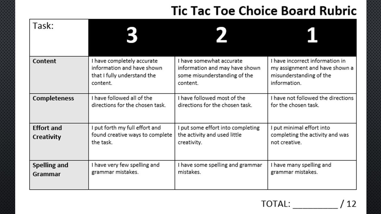 Choice Board: Hammurabi's Code Tic Tac Toe Menu