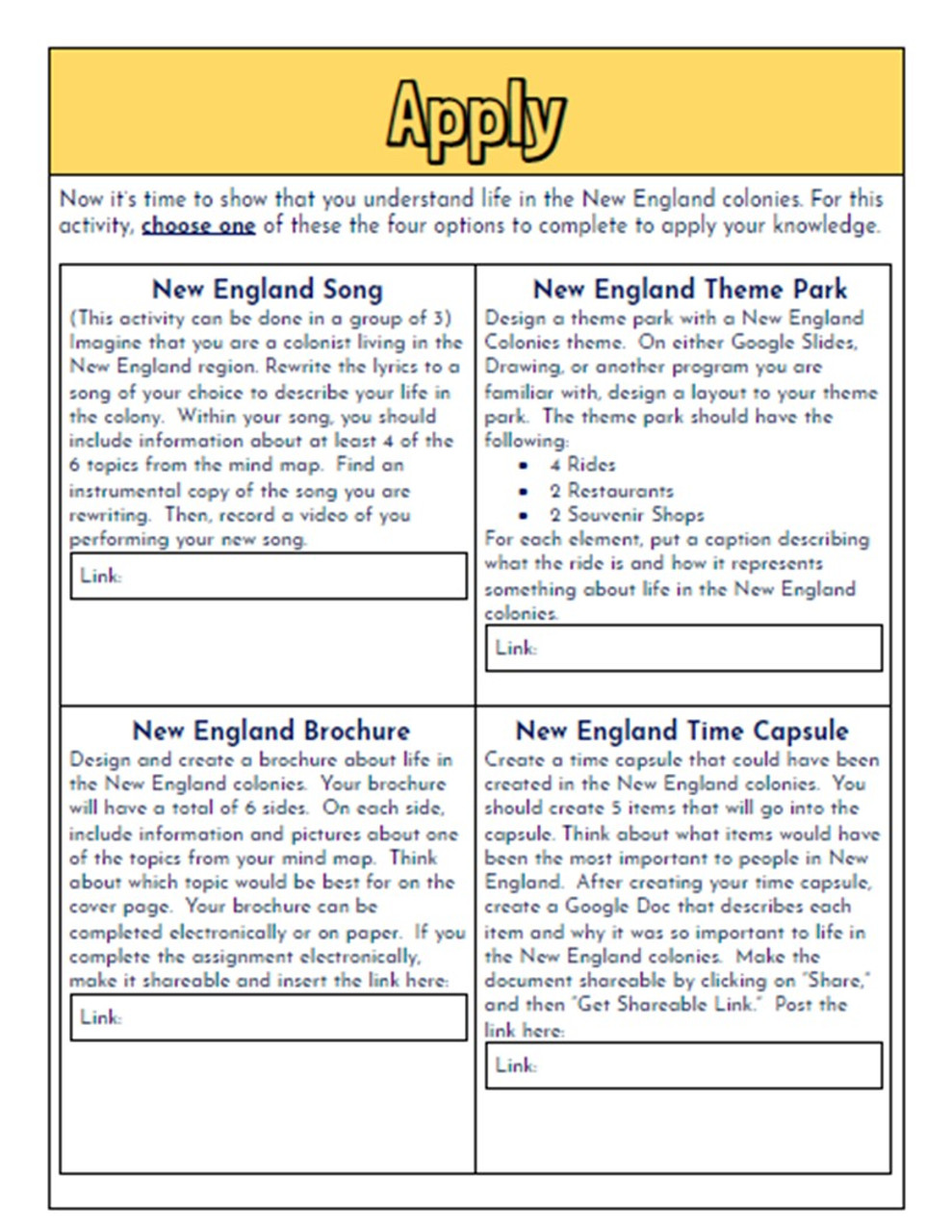 New England Colonies Hyperdoc: Colonial America Webquest