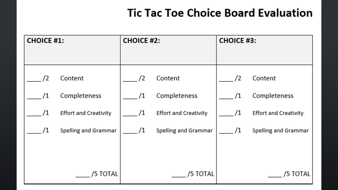 Middle Colonies Choice Board: Colonial America Tic Tac Toe Menu