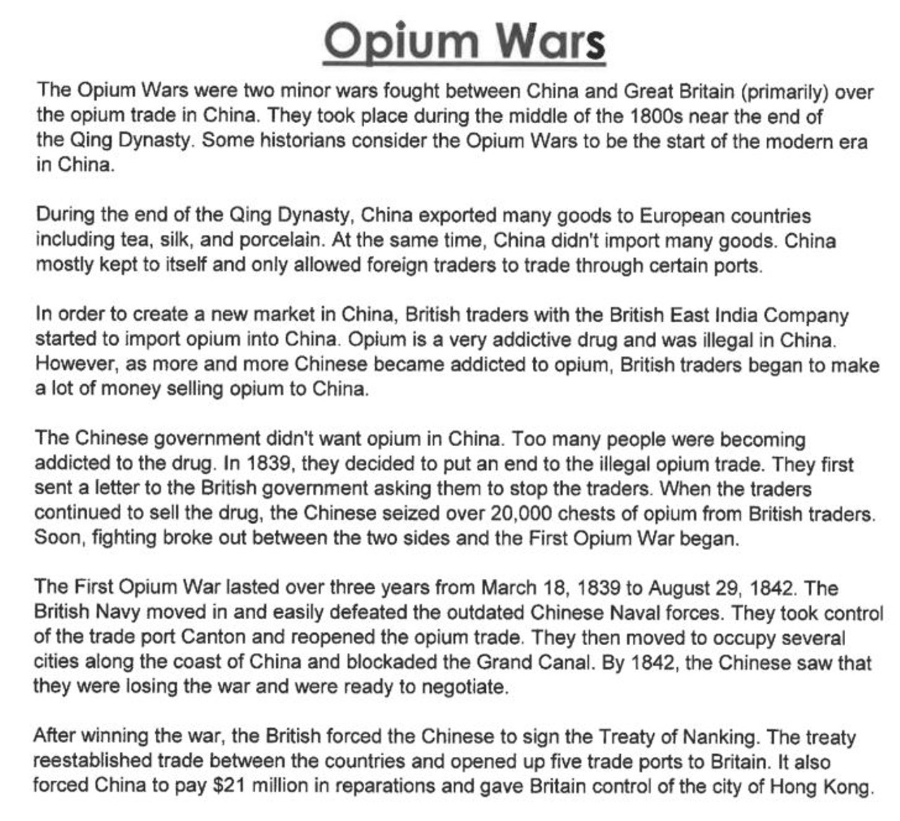 Opium Wars Reading and Questions