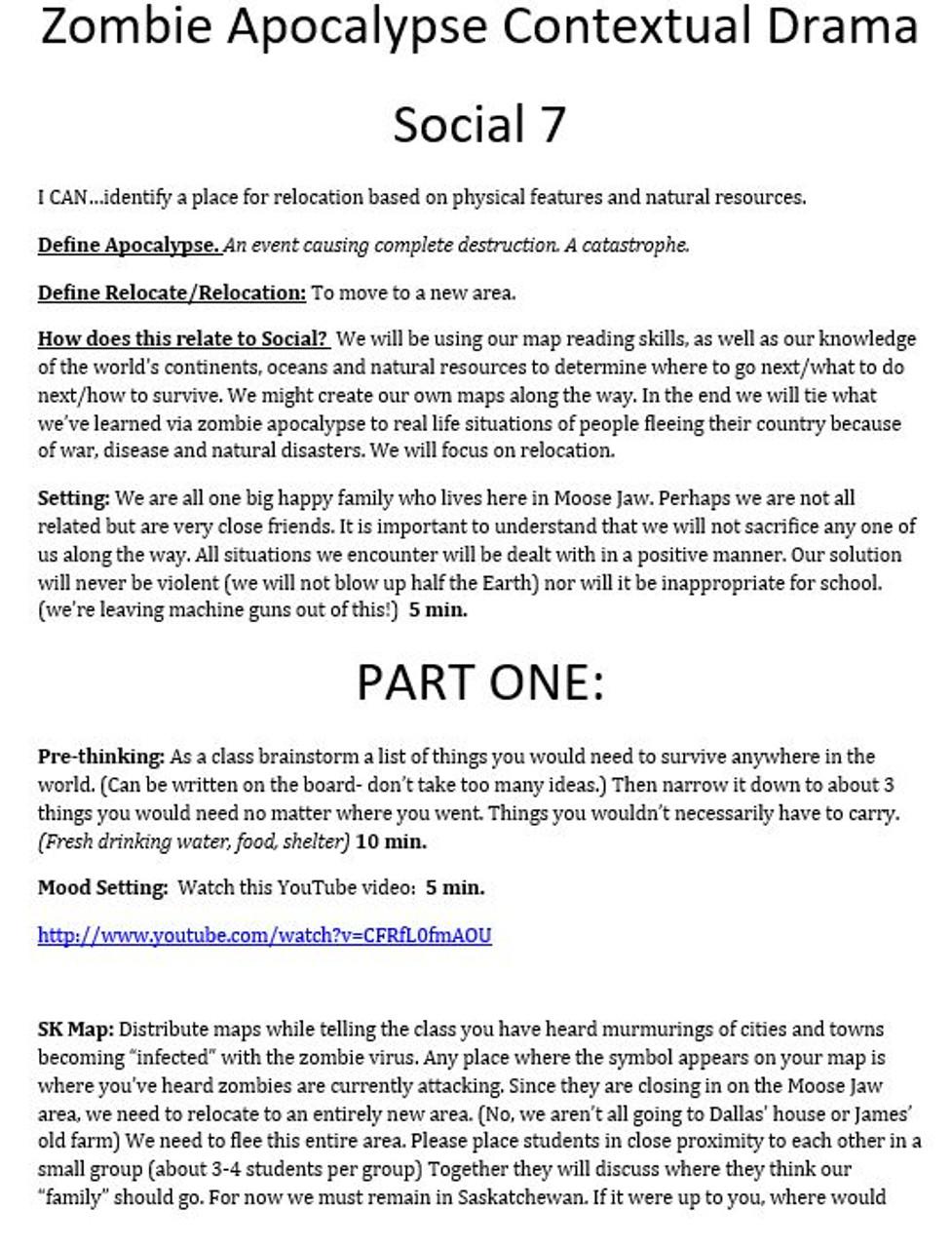 Social Studies - Zombie Apocalypse