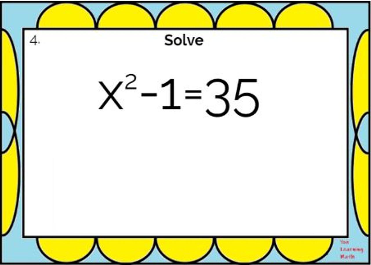 Solving Quadratic Equations using Square Roots: Google Slides - 20 Problems