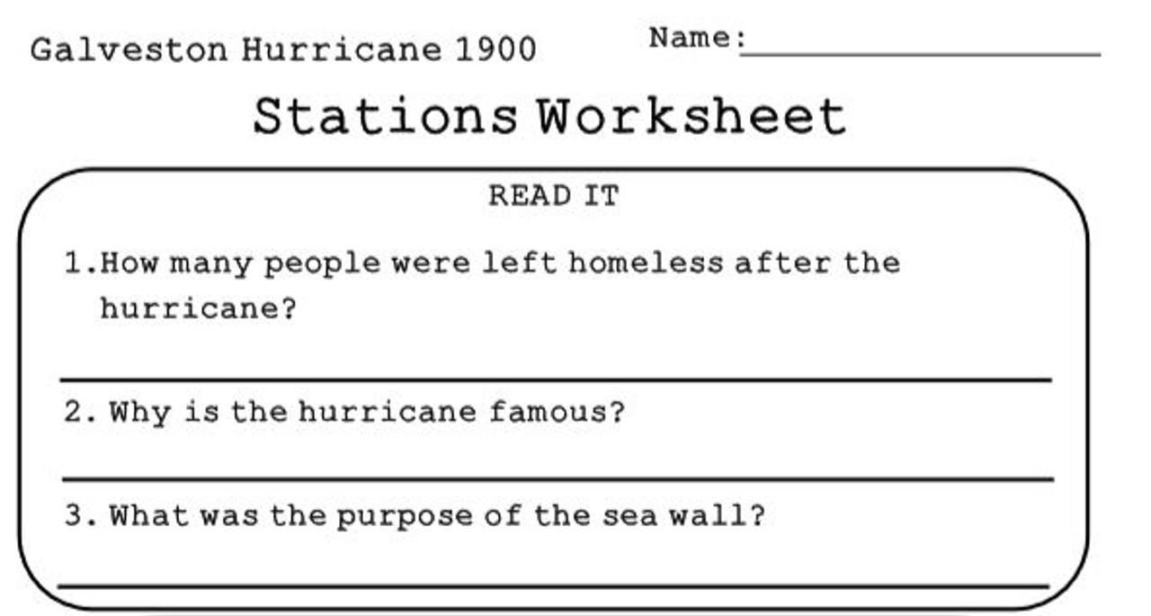 Galveston Hurricane of 1900 Stations