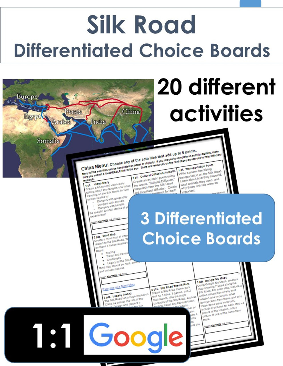 Silk Road Differentiated Choice Board Learning Menus (set of 3)