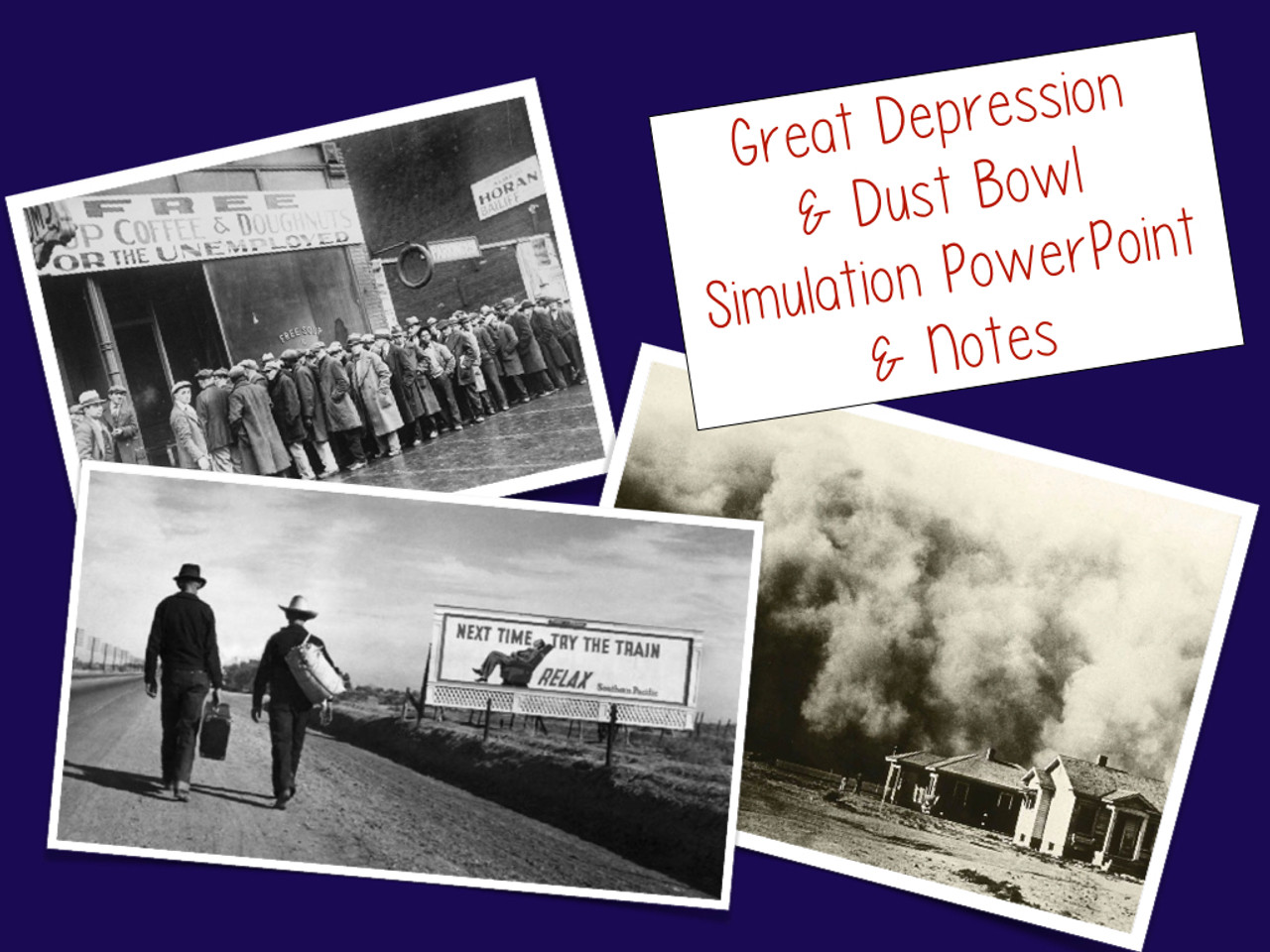 Great Depression/Dust Bowl Simulation Powerpoint and Notes Activity