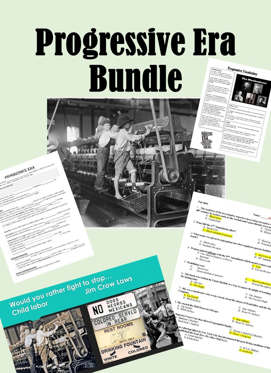 Progressive Era Bundle - Vocab, Notes, PPT & Vocab Quiz