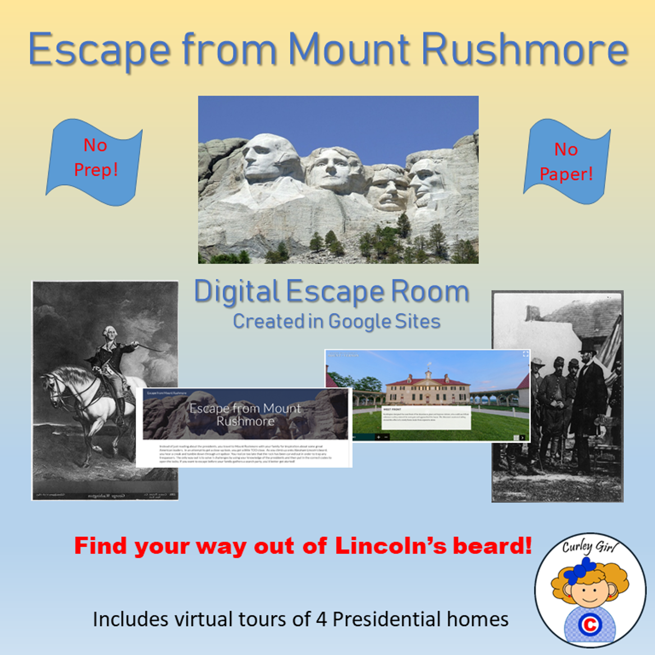 Escape from Mount Rushmore Presidents Day Digital Escape Room