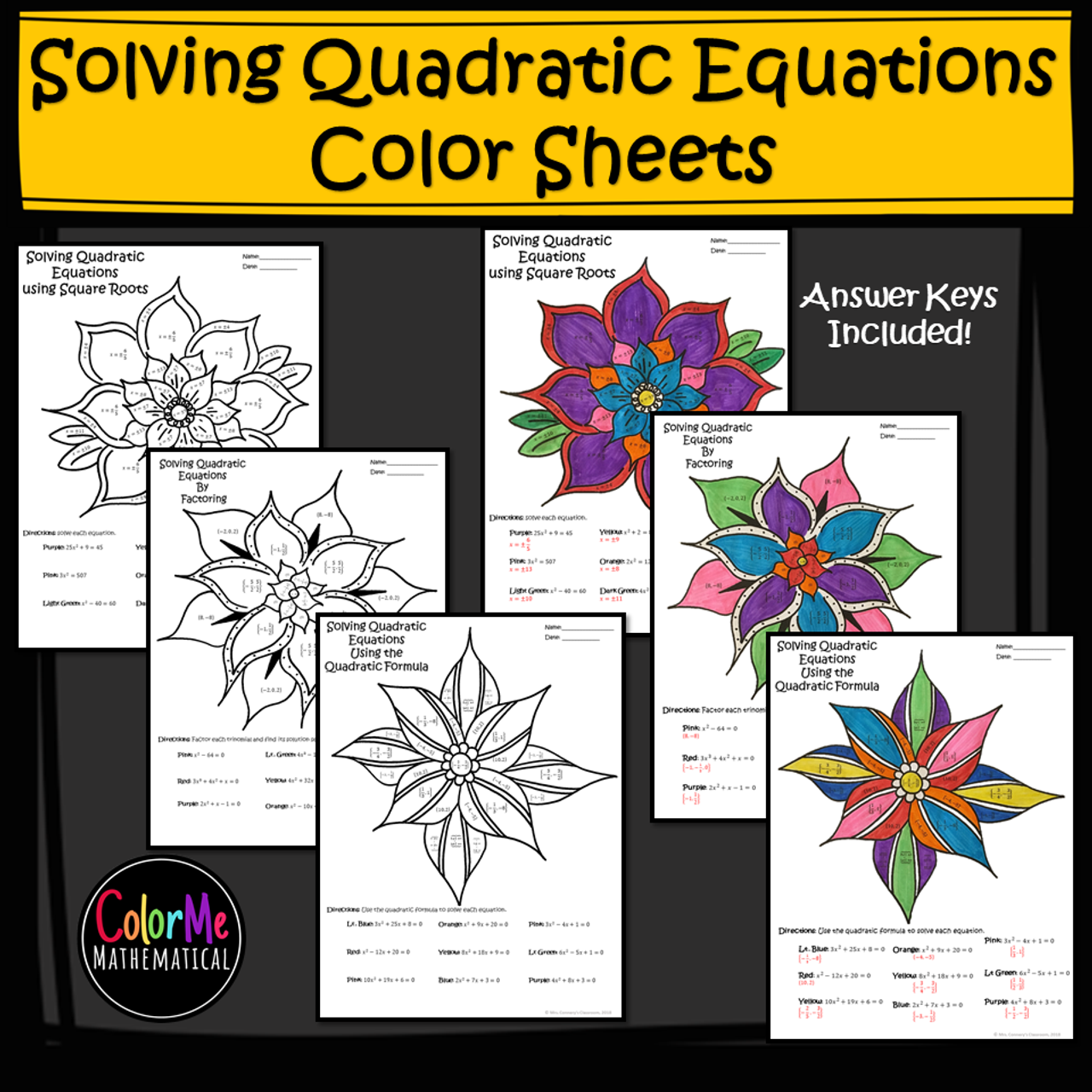 Solving Quadratic Equations Color by Number Worksheets