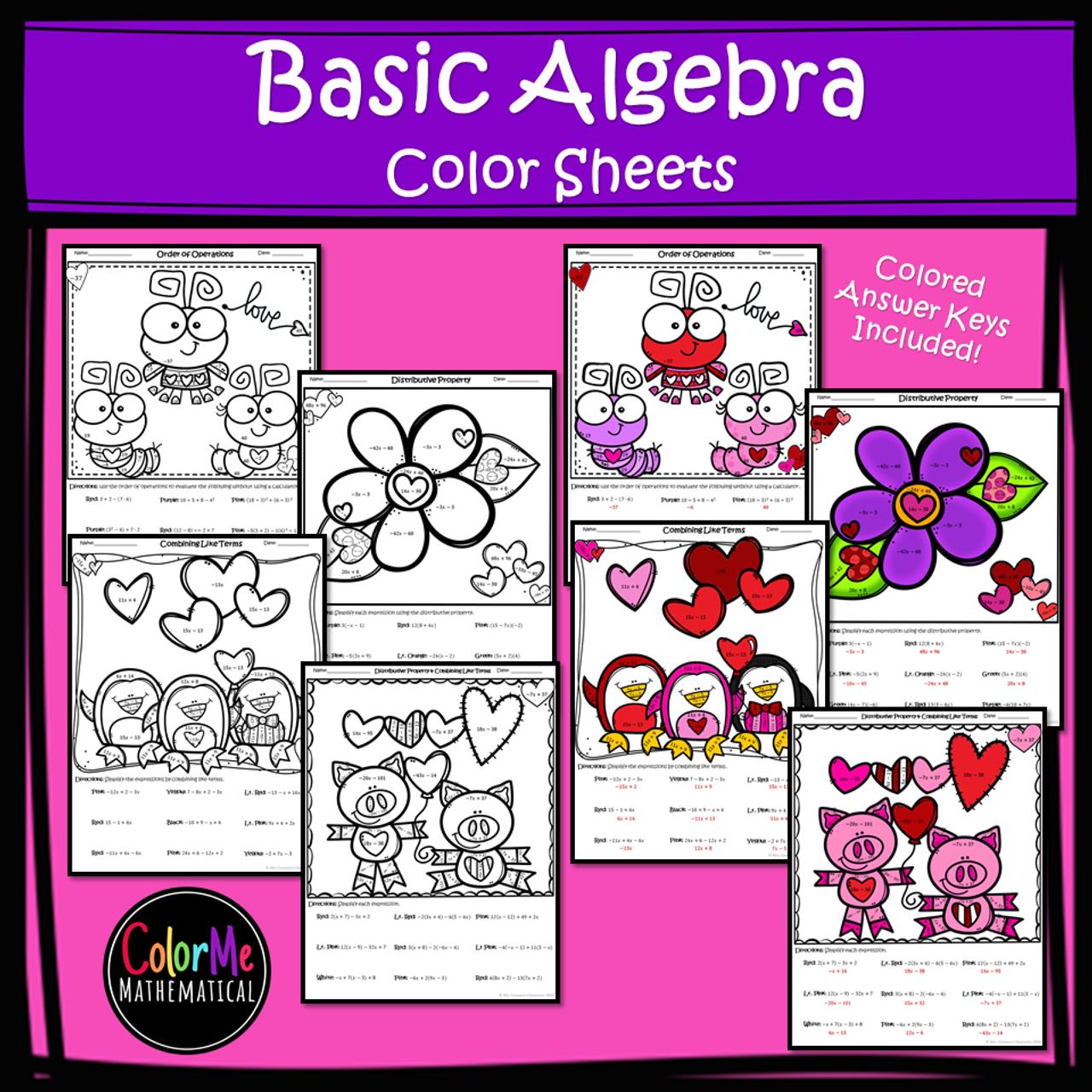 Basic Algebra Color by Number Worksheets