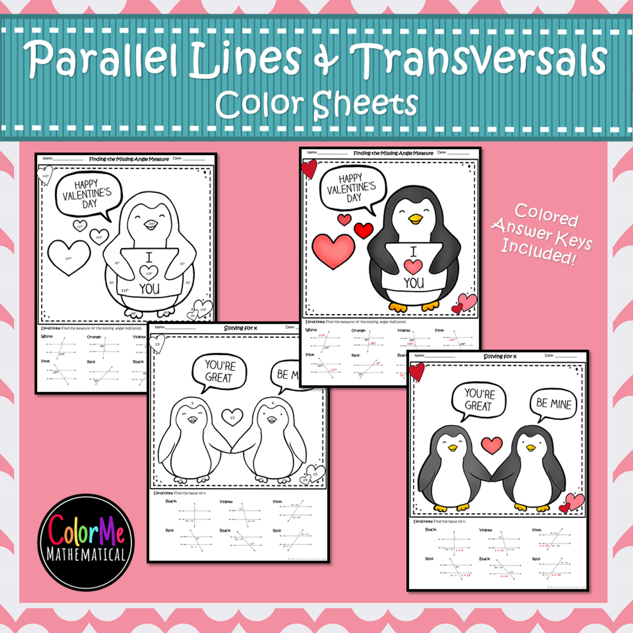 Parallel Lines cut by a Transversal Color by Number Worksheets
