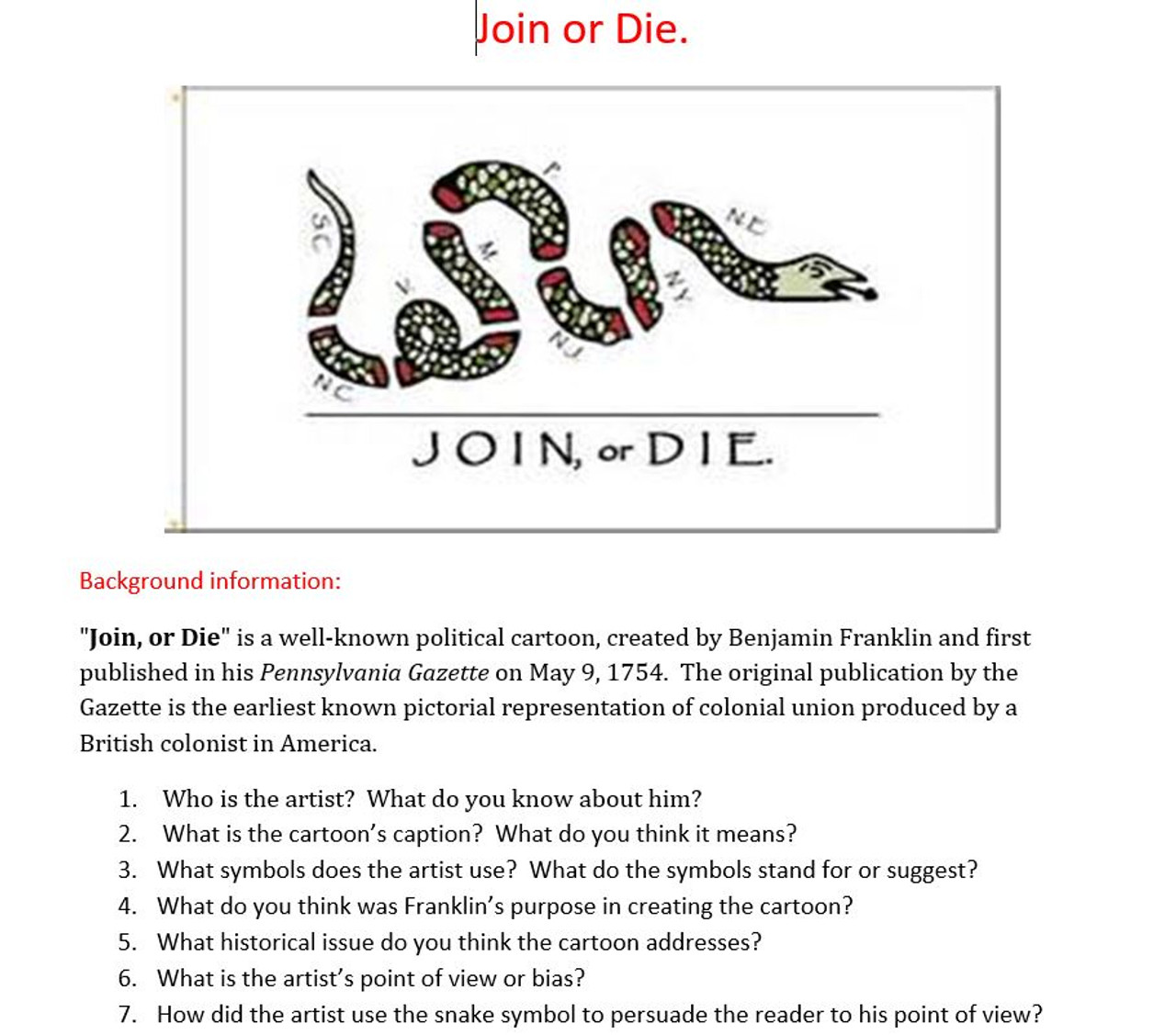 French And Indian War American Revolution Join Or Die Cartoon