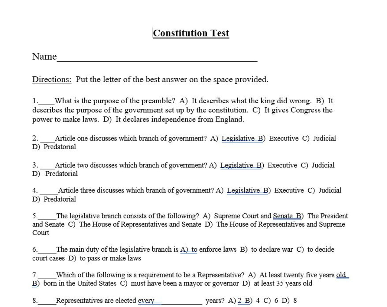 government executive branch test answer key