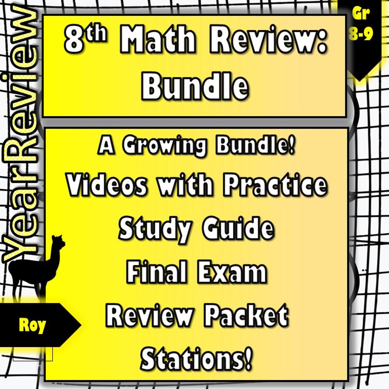 8th Math Review Bundle