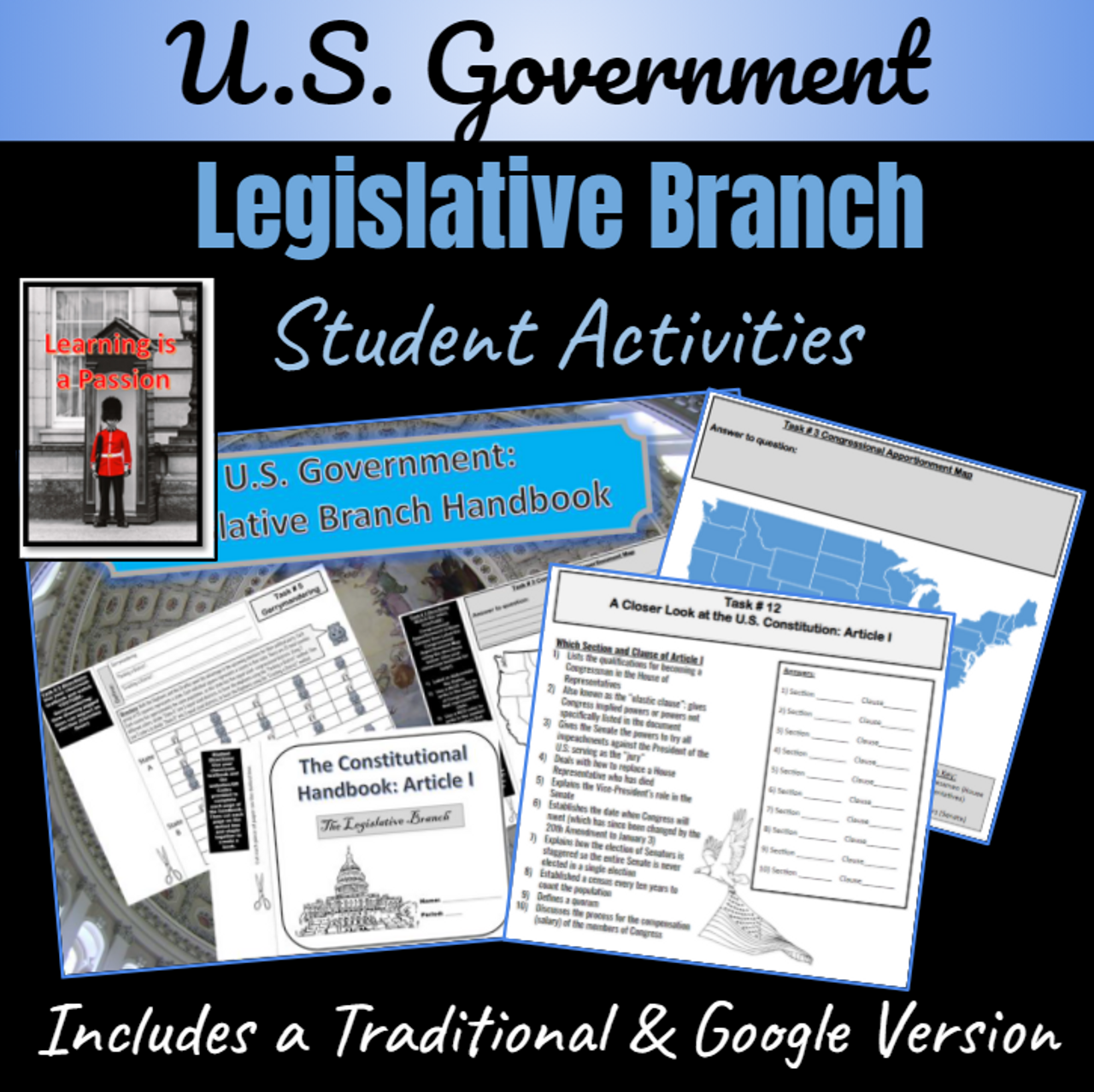U.S. Government | The Legislative Branch | Student Handbook Activity | Distance Learning