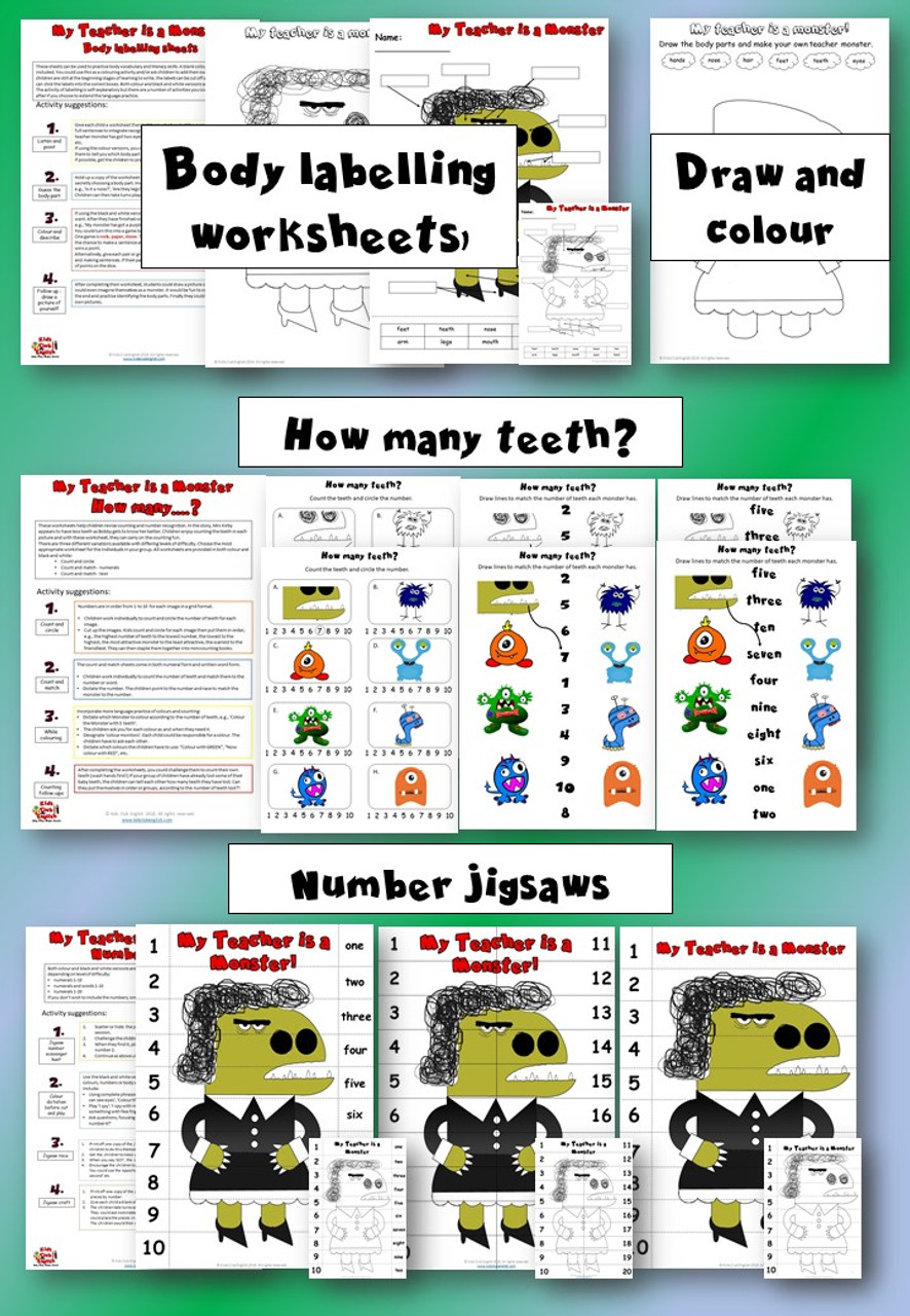 My Teacher is a Monster Activity Pack - Body labelling worksheets, draw and colour body worksheets, How many teeth worksheets, number jigsaws