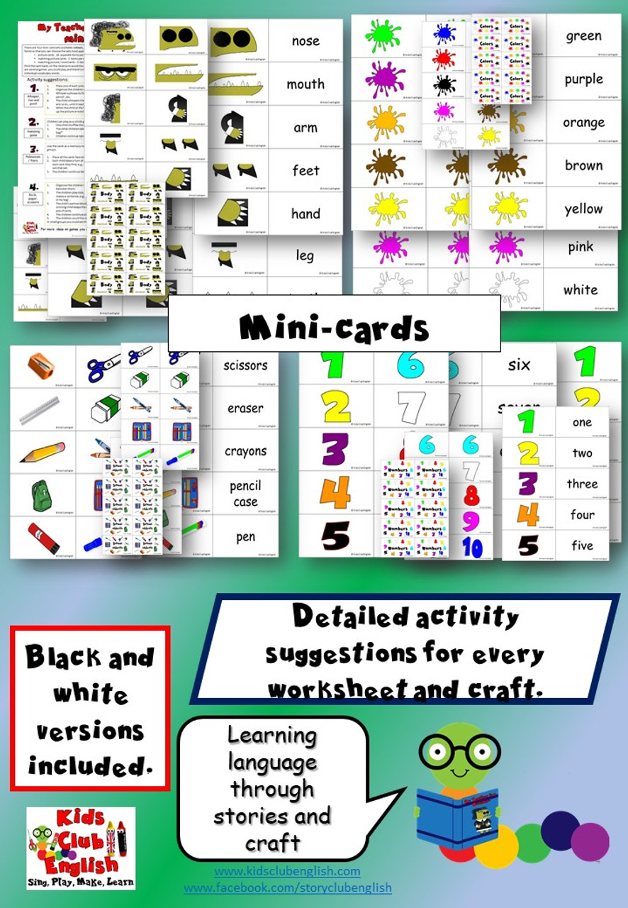 My Teacher is a Monster Activity Pack - mini-cards, flashcards