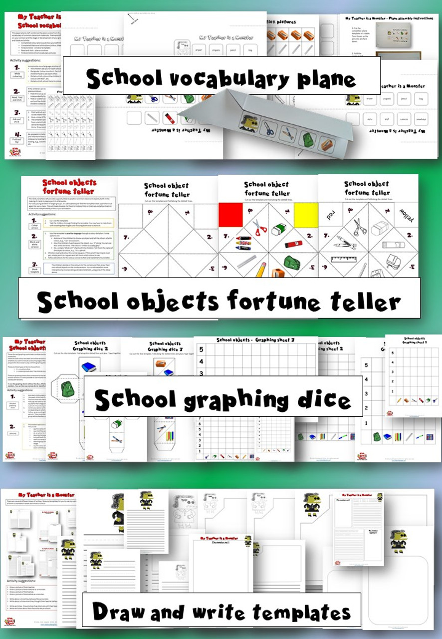 My Teacher is a Monster Activity Pack - school vocabulary plane craft, school objects fortune teller, school graphing dice, draw and write templates