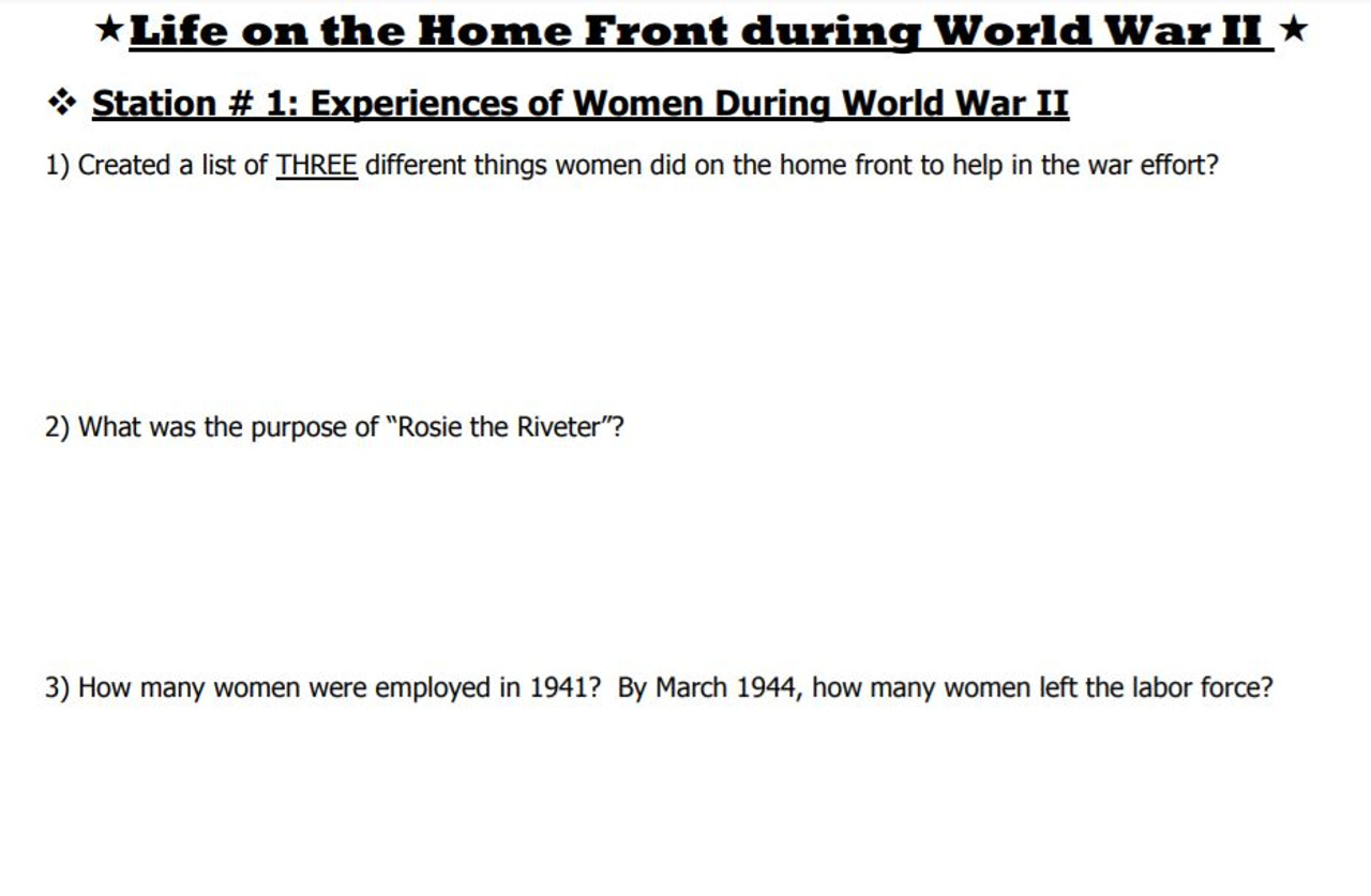 World War II Homefront Stations Lesson