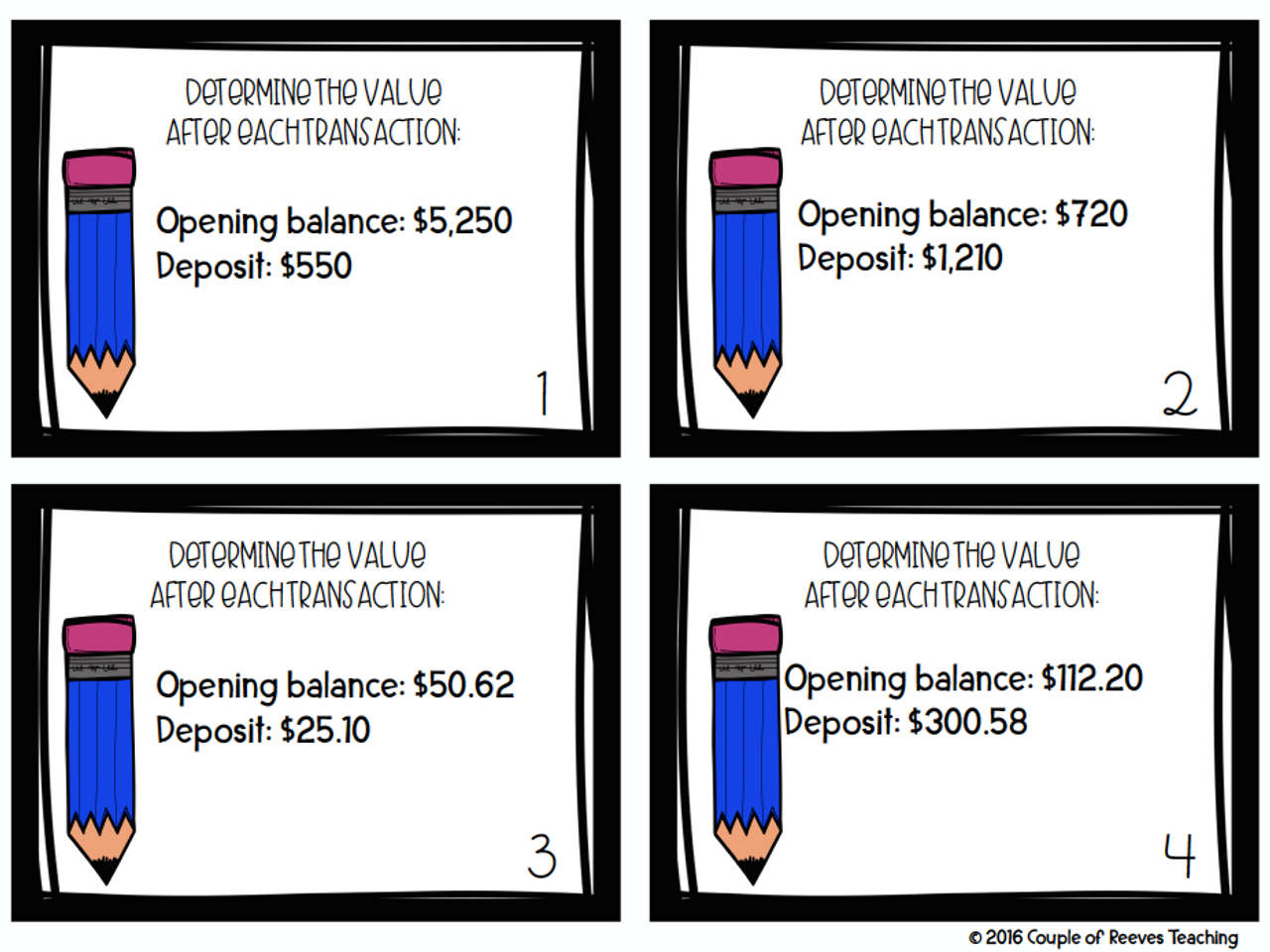Financial Literacy Checking Accounts Task Cards