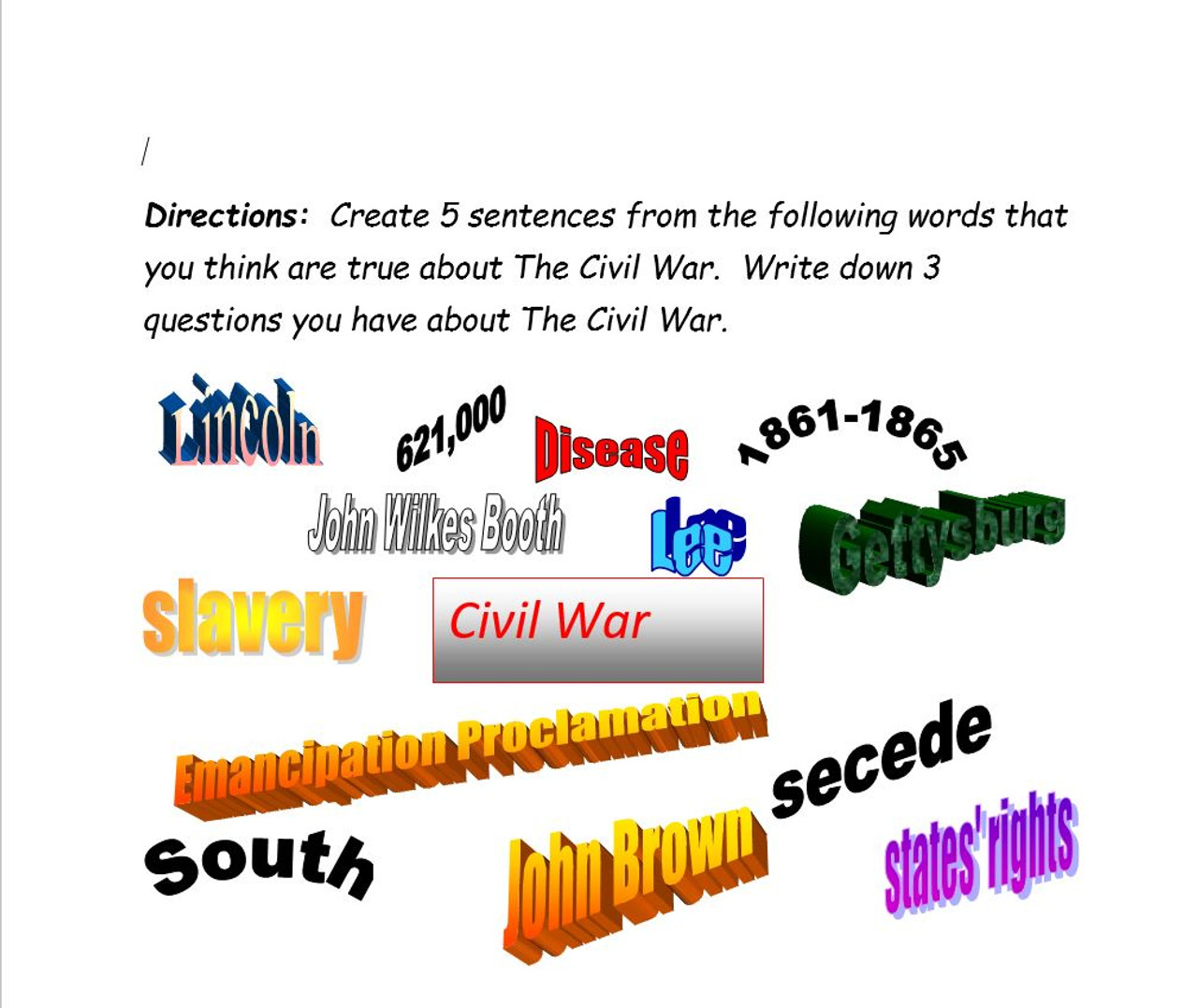 Civil War Unit: Common Core, Games, Primary Sources, Test, Activities!