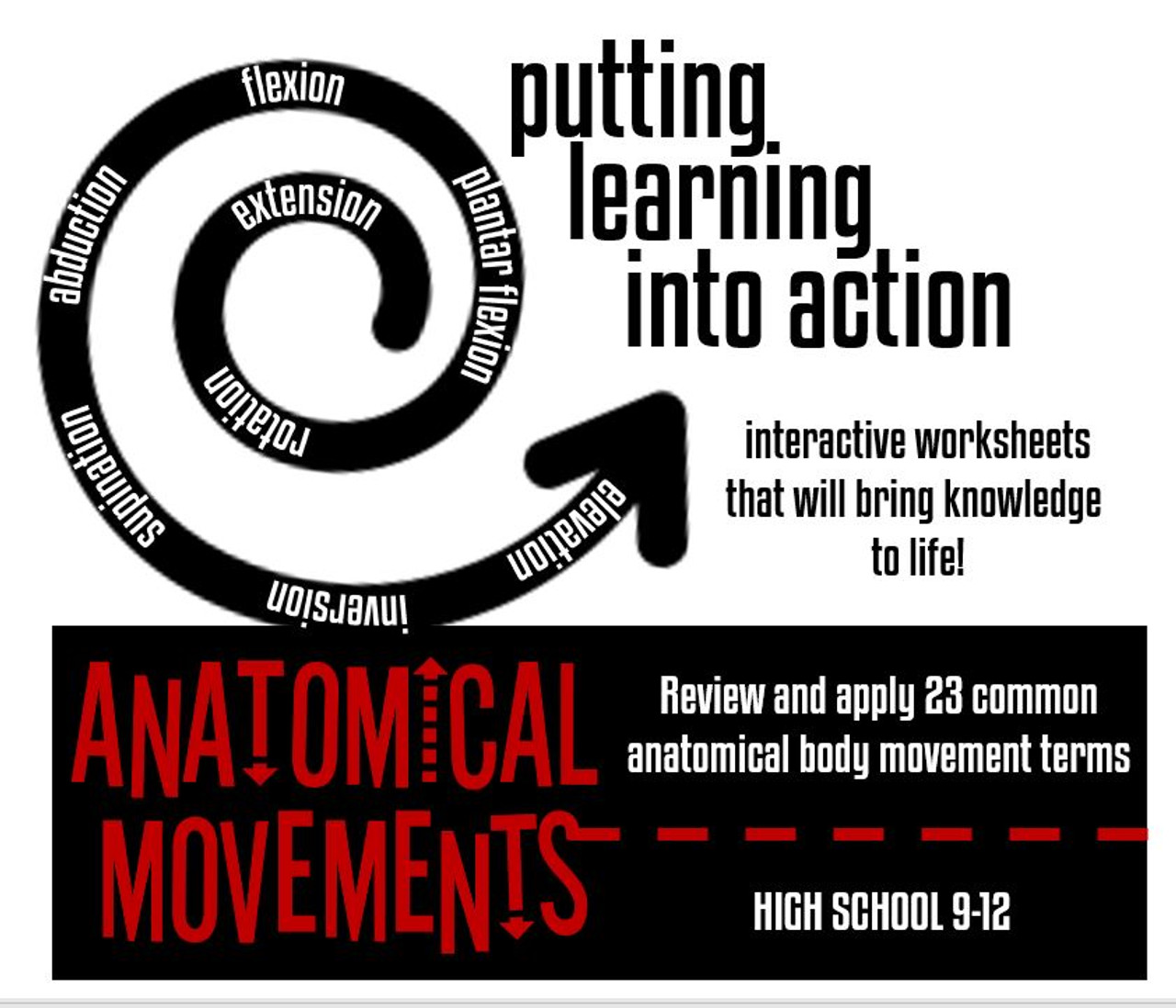 Anatomical Body Movement Terminology Worksheet- Distance Learning Option!