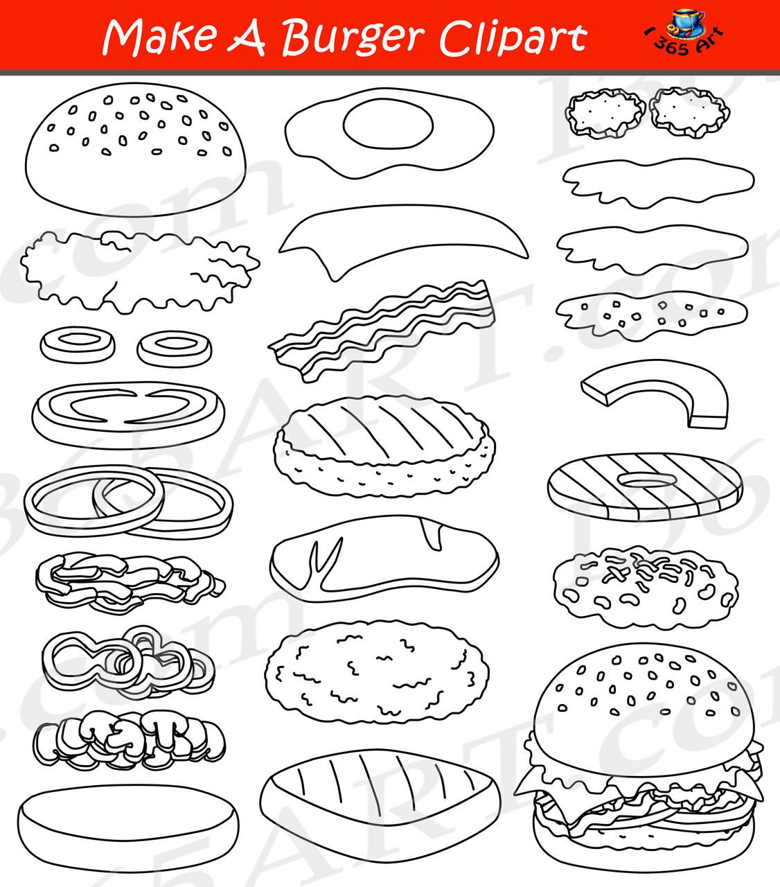 Build A Burger Hamburger Clipart Set
