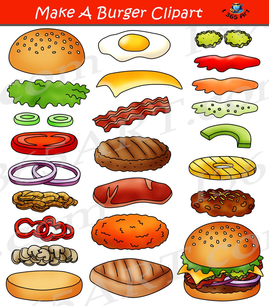 Build A Burger Clipart Set