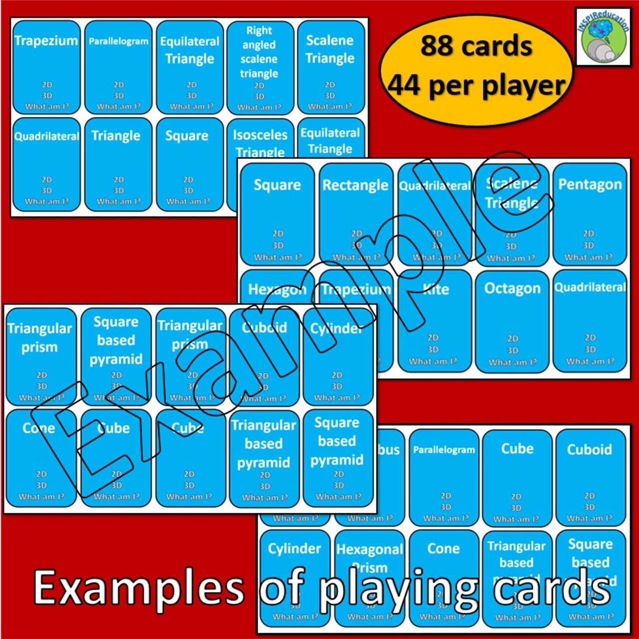 2D and 3D shape - SNAP! 88 cards including images, descriptions, nets and names