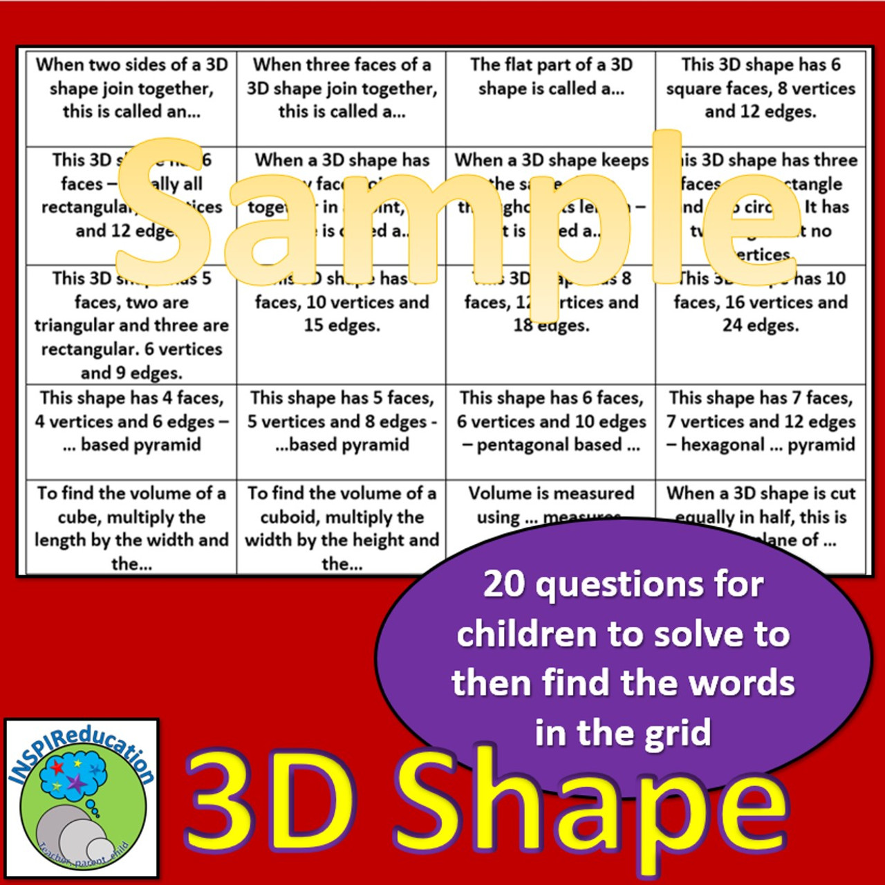 3D Shape Word Search - Solve the 20 Questions to find the 3D shapes